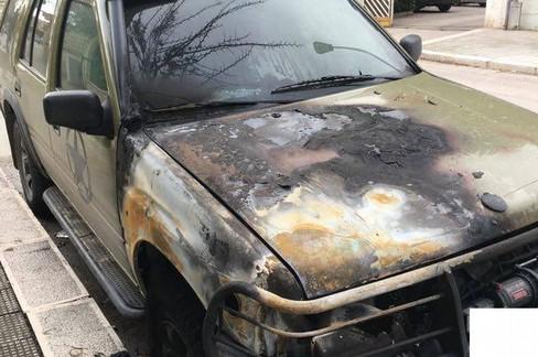 Incendio auto consigliere Marrone (Foto Movimento Cinque Stelle Trinitapoli)